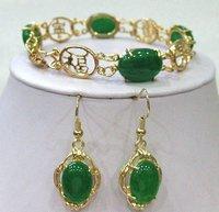Free shipping Green Jade Beads Link bracelet earrings set/18KGP