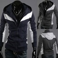 Free shipping 2012 hot sell mens fashion slim jacket men high quality hoodied sweater man color matching brushed cotton coat