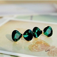 Order>$5 free shipping,Delicate sea-green bow crystal stud earrings,fashion earrings 2014, (E003)