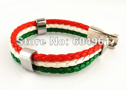 Faux Leather Bracelet Hot sale Fashion red white green Italy Flag Surfer Strand unisex cuff wristband Alloy braid(China (Mainland))