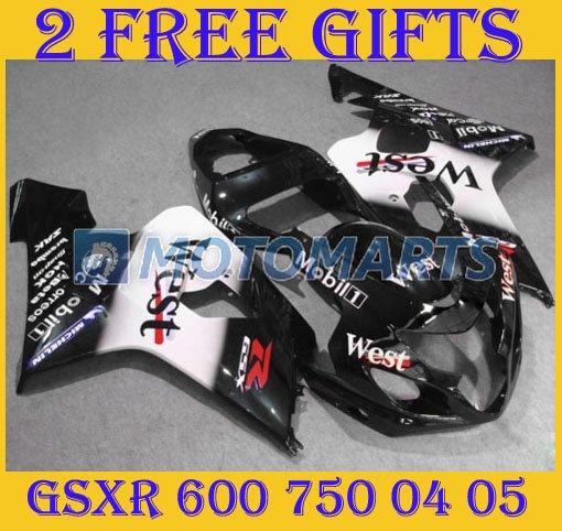 Black White Mobil West ABS plastic Motorcycle fairings kit for SUZUKI 04-05 GSX-R600/750 04 05 GSX R600/750 2004 2005 SB05(China (Mainland))