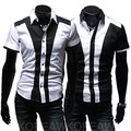 Perfect patchwork male slim short-sleeve shirt color block decoration shirt 2159