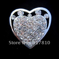 Silver Plated Clear Rhinestone Crystal Stunning Heart Brooch