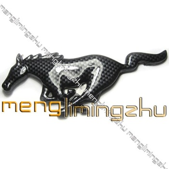 Black Carbon Badge Emblem Prancing horse Running Mustang100 Piece/LOTS Car