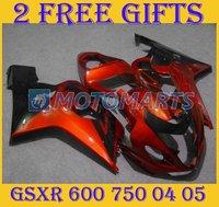 RED + Black ABS plastic Motorcycle fairings kit for SUZUKI GSX-R600-750 04-05 04 05 GSX R600/750 2004 2005 SB12