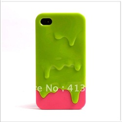 Funny Melting Ice Cream 2 in 1 Slide Hard PC Case Cover For iphone 4 4S 100PCS/lot Snow Covers 8 styles choice(China (Mainland))