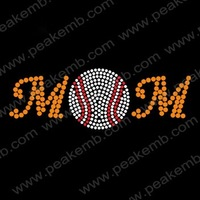 Crystal Baseball MOM Rhinestone Transfer Iron On Motifs Custom Design Available Free Shipping Wholesale 30pcs/Lot