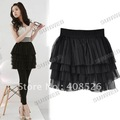 Women's Fashion Nets yarn Tiered Ruffle Mini Cake Short Skirt Flared Black free shipping 4008