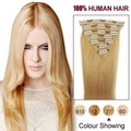 100% Remy human hair Clip In Extensions silk straight 27 strawberry blonde