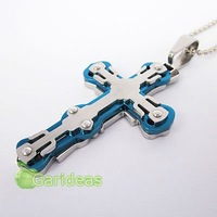 Free shipping +Wholesale  Stainless Steel Blue&Silver Multi Cross Chain Pendant Necklace New Cool Gift Item ID:3855