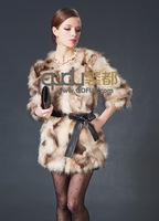 Женская одежда из меха Women Real Leopard Printed Rabbit Fur Coat with Three Quarter Sleeve Outwear O-Neck Garment QD22025 A G