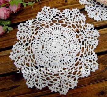 Free shipping wholesale 100% cotton hand made Crochet cup mat white Doily ,20CMX20CM Round 12PCS/LOT CD033