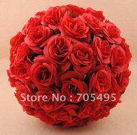 FREE SHIPPING  23cm Silk Wedding Hanging Red Rose Flower Ball