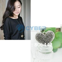 Fashion Vintage 3D Big Hollow Heart Pendant Necklace Coat Chain Free Shipping