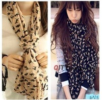 wholesale 10pcs / lot free shipping 165x70cm small cat women scarf , women winter scarf