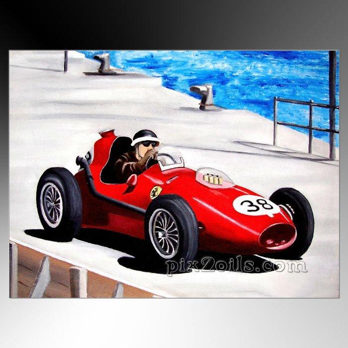 Modern And Contemporary Formula Art Racing Car Handpainted
