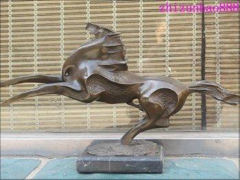 """20"""" باسل الحصان النحت التجريدي البرونز والرخام"""
