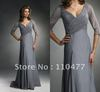 Elegant Ruched V-neck Long Sleeve Silver Gray Mother Of The Bride Dresses FM386