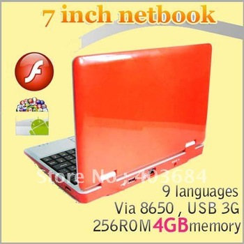 DHL Christmas 7 inch VIA 8650 8850 Laptop Android 2.2 3G WiFi Flash 10 Best Price 4G 256M 5pcs