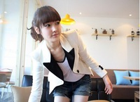 Women's New Fashion White  Long  Sleeve Slim  Coat - 4021004