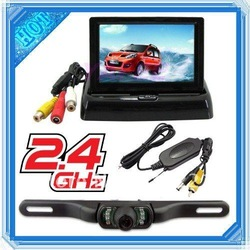 4.3inch Foldable LCD Monitor + IR night vision 2.4G wireless secure reverse backup parking system Car rearview tail camera(China (Mainland))