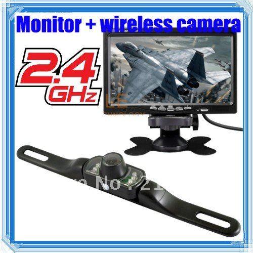 "7"" TFT LCD Car Rearview Monitor/2.4G wireless Night Vision Reverse RV camera set + Tracking code(China (Mainland))"