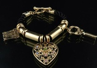Bracelet Fashion Jewelry Logo+Heart+Key Pendants Free Shipping Super Quality Gift Package #JCB-07Gold