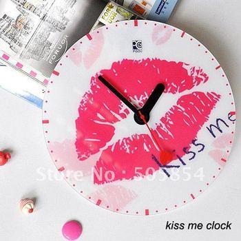 50% off  wall clock decorative clock DIY wall clock kiss me clock