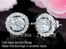 2 Carat Round CZ Cubic Zirconia Simulated Diamond Stud Earrings CSE248(Hong Kong)