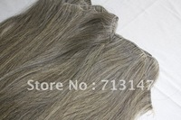 "Chinese grey remy hair /machine made weft / 24"" 100g/piece 2pieces/lot"
