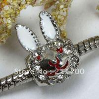 5pcs Red Rabbit Head Enamel Spacer Charm European Bead