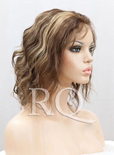 "Body wave,#4/27,Indian Remy Human Hair Lace Front Wigs,8""-14"",Adjustable French Lace Cap,Whole Sale+DHL FREE shipping(China (Mainland))"