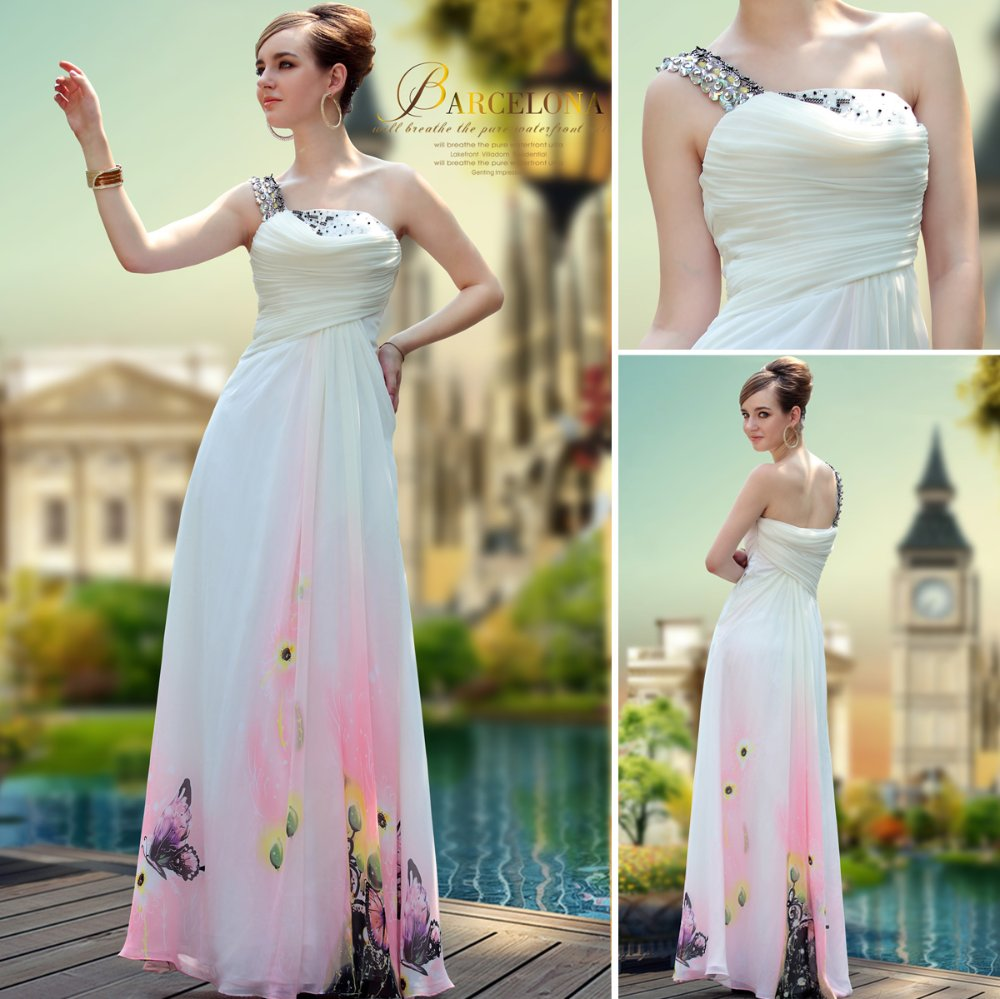 Special Offer DorisQueen Unique Design Printing Jacquard Long Prom dress for party 2013(China (Mainland))