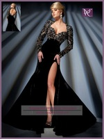 APB0453 APB0481 Luxury Hand Beaded Queen Anne Neckline Open Back Black Velvet Long Sleeve Evening Dress