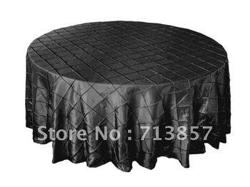 "90""Black Pintuck taffeta table cloth\wedding table cloth  Free shipping Good Quality factory price"