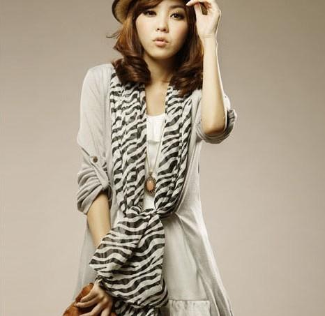 Autumn and winter zebra print silk scarf casual fashion female chiffon scarf silk scarf(China (Mainland))
