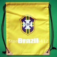 Brazil Brasil Soccer Team Kitbag Backpack GYM Drawstring Training Bag Yellow @