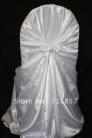 White satin self tie chair cover\universal chair cover\wedding chair cover  Free shipping