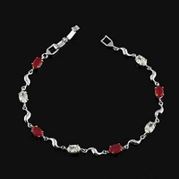 White Gold Over Red Corundum Ruby Bracelet 7.3""