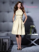 Hot Selling Bateau Knee length Sleeveless Satin A Line Bridesmaid Dress