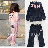 Комплект одежды для девочек Hot! Winter Children clothing, Kids set of Long Sleeve + Trouser, Wing Velutum Kids suit, Velet Baby set