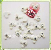 Free Shipping-200pcs/bag  White Color Resin Mouse head shape  Nail Art Decoration Cellphone Decoration Bow Decoration