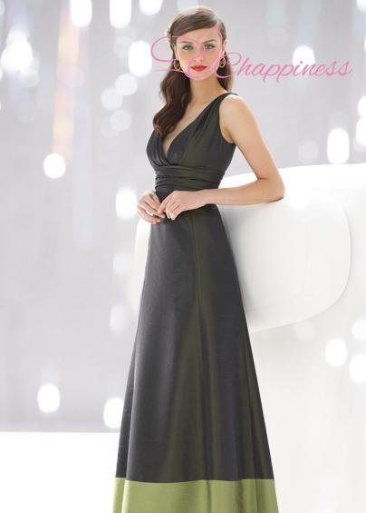 Free Shipping V-Neck Cross Dressing Strapless Full-length Beaded Satin Bridesmaid Dress Black Long Gown(China (Mainland))