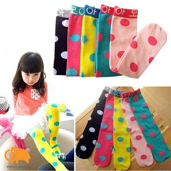 Retail+Free shipping,1 pair/bag,baby Girl candy color socks,polka dot straight tube socks, 5 colors,leg warmers,baby socks