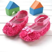 Factory supply children's shoe Pink Mary Jane Infant Baby Shoes soft sole Rose flower Design free shipping,wholesale, 56348