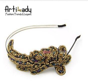 Artilady  gold seadbeads hair band magnificent phoenix design hair accessories lovely hair band