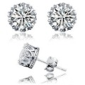 Brilliance Crown Set CZ Platinum Plated Earrings