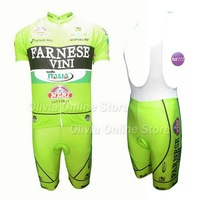Custom and mix size 2012 Farnese vini italia Green Short Sleeve Cycling Jersey And BIB Short,High quality ,Dropshipping