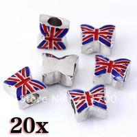 20pcs Enamel UK Flag Butterfly Big Hole European Charm Beads Fit Snake Chain