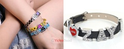New Handmade 6pcs Popular I LOVE ZAYN Letter Rhienstone Black Leather wristband bracelet 191007(China (Mainland))